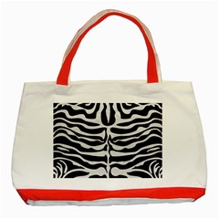 Skin2 Black Marble & White Leather (r) Classic Tote Bag (red)