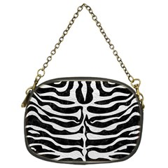 Skin2 Black Marble & White Leather (r) Chain Purses (one Side)