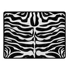 Skin2 Black Marble & White Leather (r) Double Sided Fleece Blanket (small)