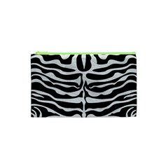 Skin2 Black Marble & White Leather (r) Cosmetic Bag (xs)