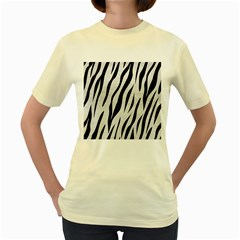 Skin3 Black Marble & White Leather Women s Yellow T Shirt