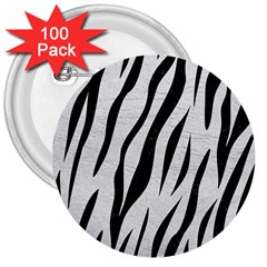 Skin3 Black Marble & White Leather 3  Buttons (100 Pack)