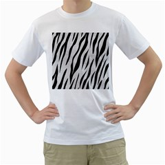 Skin3 Black Marble & White Leather Men s T Shirt (white) (two Sided)
