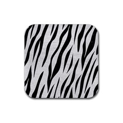 Skin3 Black Marble & White Leather Rubber Square Coaster (4 Pack)
