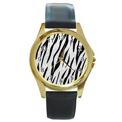 Skin3 Black Marble & White Leather Round Gold Metal Watch