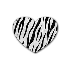 Skin3 Black Marble & White Leather Heart Coaster (4 Pack)