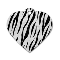 Skin3 Black Marble & White Leather Dog Tag Heart (one Side)