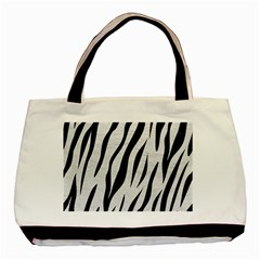 Skin3 Black Marble & White Leather Basic Tote Bag (two Sides)