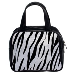Skin3 Black Marble & White Leather Classic Handbags (2 Sides)