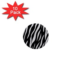 Skin3 Black Marble & White Leather (r) 1  Mini Buttons (10 Pack)