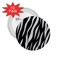 Skin3 Black Marble & White Leather (r) 2 25  Buttons (10 Pack)