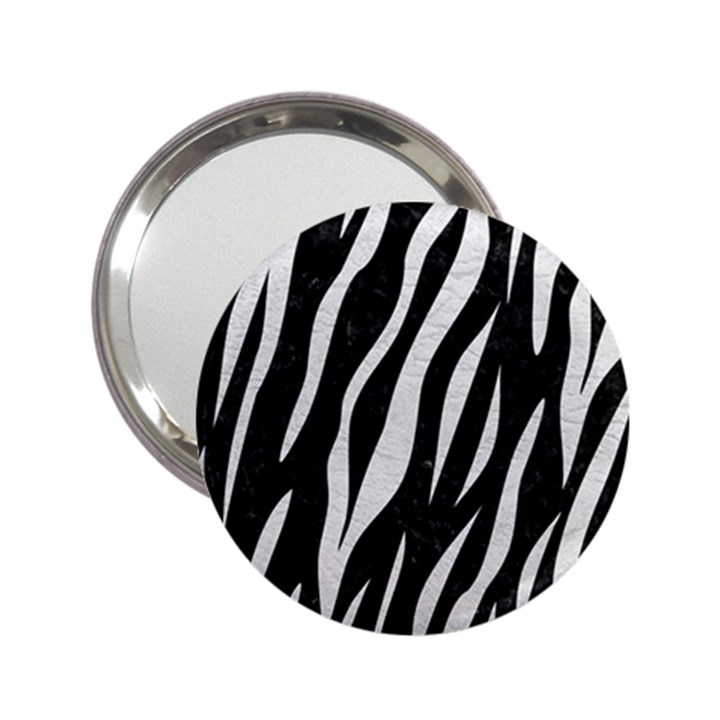 SKIN3 BLACK MARBLE & WHITE LEATHER (R) 2.25  Handbag Mirrors