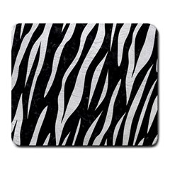 Skin3 Black Marble & White Leather (r) Large Mousepads