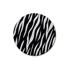 Skin3 Black Marble & White Leather (r) Rubber Round Coaster (4 Pack)