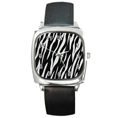 Skin3 Black Marble & White Leather (r) Square Metal Watch