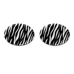 Skin3 Black Marble & White Leather (r) Cufflinks (oval)