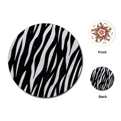 Skin3 Black Marble & White Leather (r) Playing Cards (round)