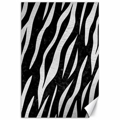 Skin3 Black Marble & White Leather (r) Canvas 24  X 36