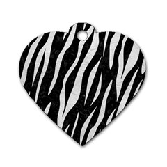 Skin3 Black Marble & White Leather (r) Dog Tag Heart (one Side)