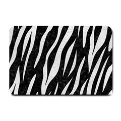 Skin3 Black Marble & White Leather (r) Small Doormat