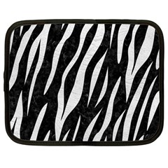 Skin3 Black Marble & White Leather (r) Netbook Case (large)