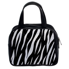 Skin3 Black Marble & White Leather (r) Classic Handbags (2 Sides)