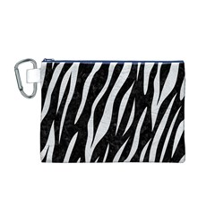 Skin3 Black Marble & White Leather (r) Canvas Cosmetic Bag (m)