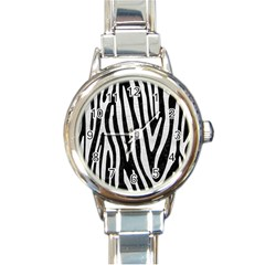 Skin4 Black Marble & White Leather Round Italian Charm Watch