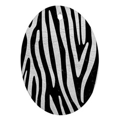 Skin4 Black Marble & White Leather Ornament (oval)