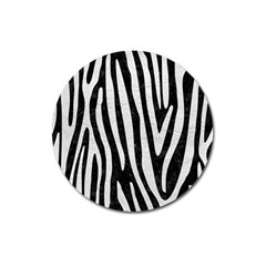 Skin4 Black Marble & White Leather Magnet 3  (round)