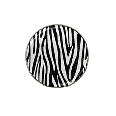Skin4 Black Marble & White Leather Hat Clip Ball Marker (4 Pack)