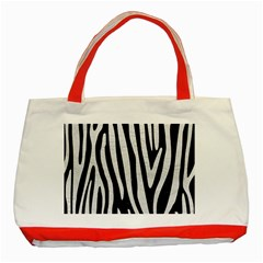 Skin4 Black Marble & White Leather Classic Tote Bag (red)