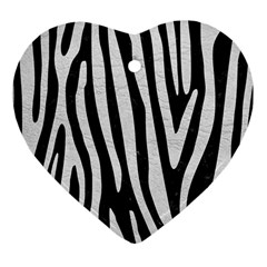 Skin4 Black Marble & White Leather Heart Ornament (two Sides)