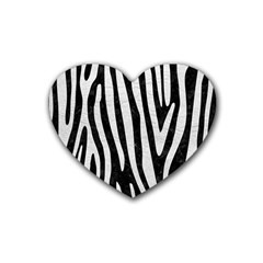 Skin4 Black Marble & White Leather Heart Coaster (4 Pack)