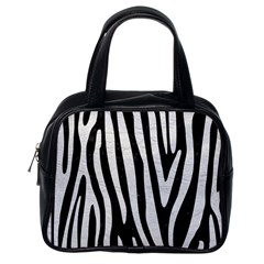 Skin4 Black Marble & White Leather Classic Handbags (one Side)