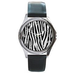 Skin4 Black Marble & White Leather (r) Round Metal Watch