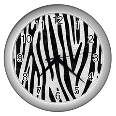 Skin4 Black Marble & White Leather (r) Wall Clocks (silver)
