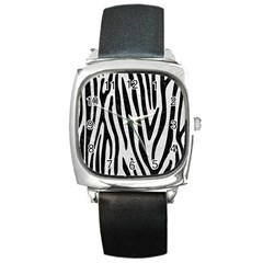 Skin4 Black Marble & White Leather (r) Square Metal Watch