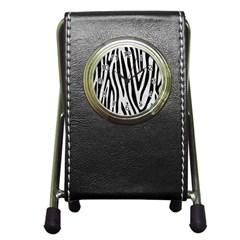 Skin4 Black Marble & White Leather (r) Pen Holder Desk Clocks