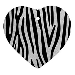 Skin4 Black Marble & White Leather (r) Heart Ornament (two Sides)