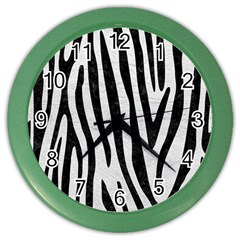 Skin4 Black Marble & White Leather (r) Color Wall Clocks