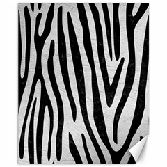 Skin4 Black Marble & White Leather (r) Canvas 11  X 14