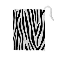 Skin4 Black Marble & White Leather (r) Drawstring Pouches (large)