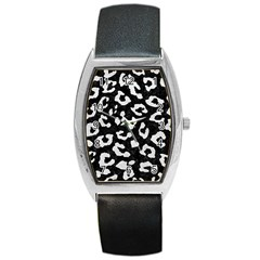 Skin5 Black Marble & White Leather Barrel Style Metal Watch