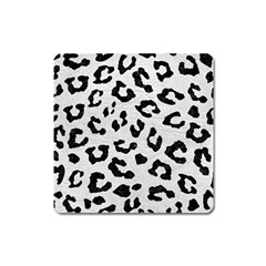 Skin5 Black Marble & White Leather (r) Square Magnet