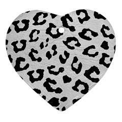 Skin5 Black Marble & White Leather (r) Heart Ornament (two Sides)
