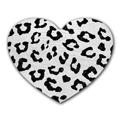 Skin5 Black Marble & White Leather (r) Heart Mousepads