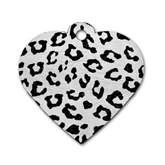 Skin5 Black Marble & White Leather (r) Dog Tag Heart (two Sides)