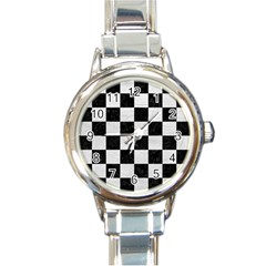 Square1 Black Marble & White Leather Round Italian Charm Watch