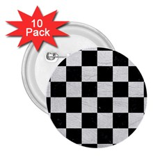 Square1 Black Marble & White Leather 2 25  Buttons (10 Pack)